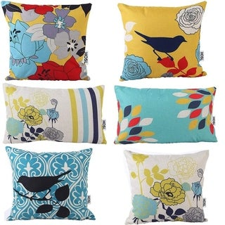 Decorative Pillow Cover Case Bird And Flower