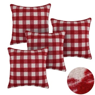 Scottish Tartan Plaid Style Throw Pillow Covers Red and White