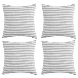 Striped Pillowcases Cushion Covers White and Light Grey