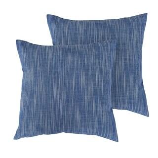 Throw Pillowcase with Zipper Cushion Cover Blue and White Melange