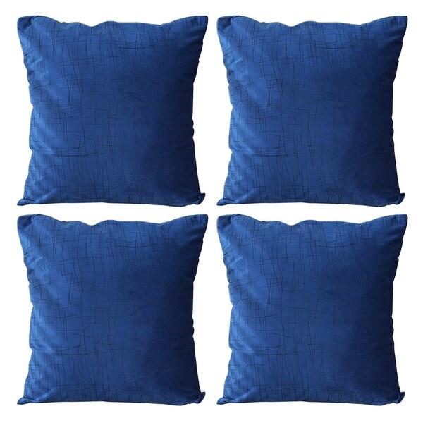 Super Soft Intersecting Line Pattern Velvet Pillowcase Dark Blue