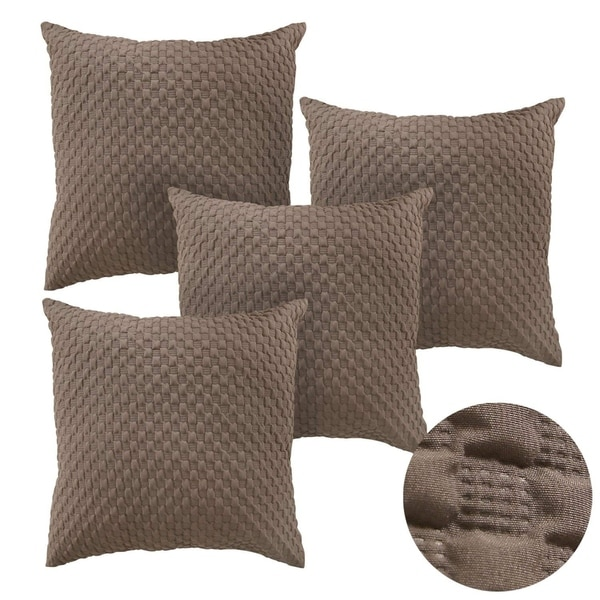 Decorative Square Embossed Throw Pillow Case Khaki