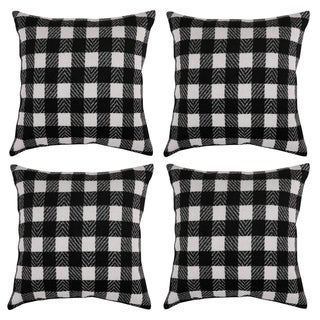 Black and White Retro Checkered Plaid Throw Pillow Cover