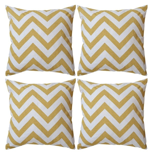Recycled Cotton Square Throw Pillow Covers Yellow