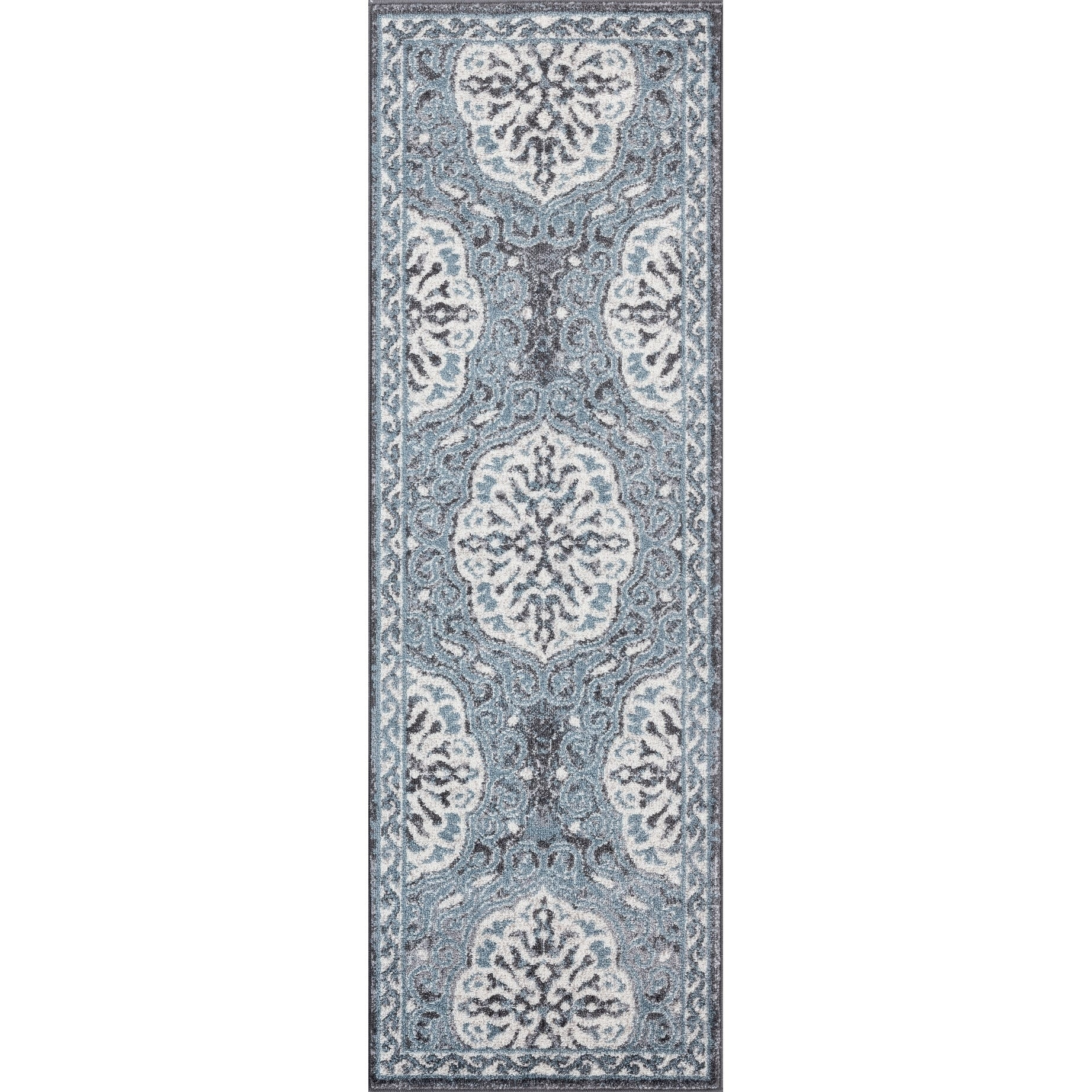 Aurelia Wilton-woven Transitional Grey-Blue Runner Rug - 2 x 6 Runner (Grey/Blue - 2 x 6 Runner)