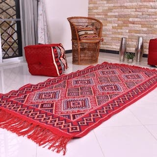 """Moroccan Red Kilim Rug Natural Wool Hand Knotted Rug - off-white, red, navy blue, beige, grey - 5'x 6'7"""""""