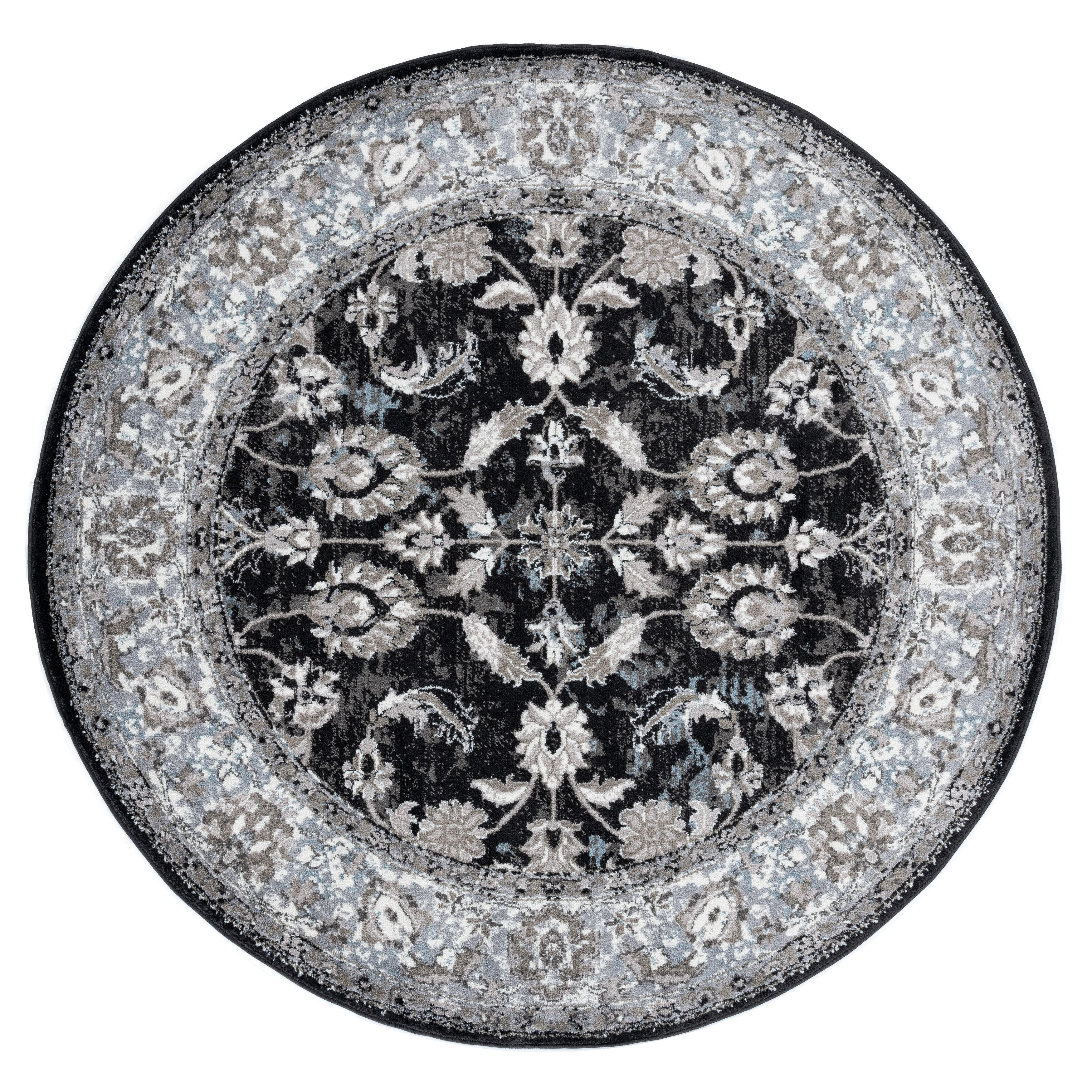 Aurelia Wilton-woven Transitional Black Round Rug - 6 x 6 (Black - 6 x 6)