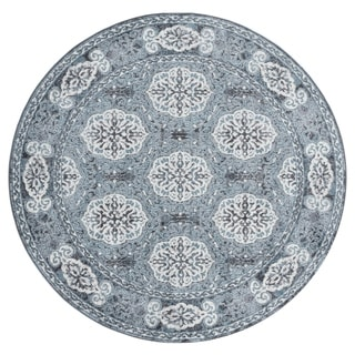 Aurelia Wilton-woven Transitional Grey-Blue Round Rug - 6' x 6'