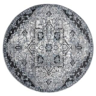 Aurelia Wilton-woven Transitional Dark Gray Round Rug - 6' x 6'