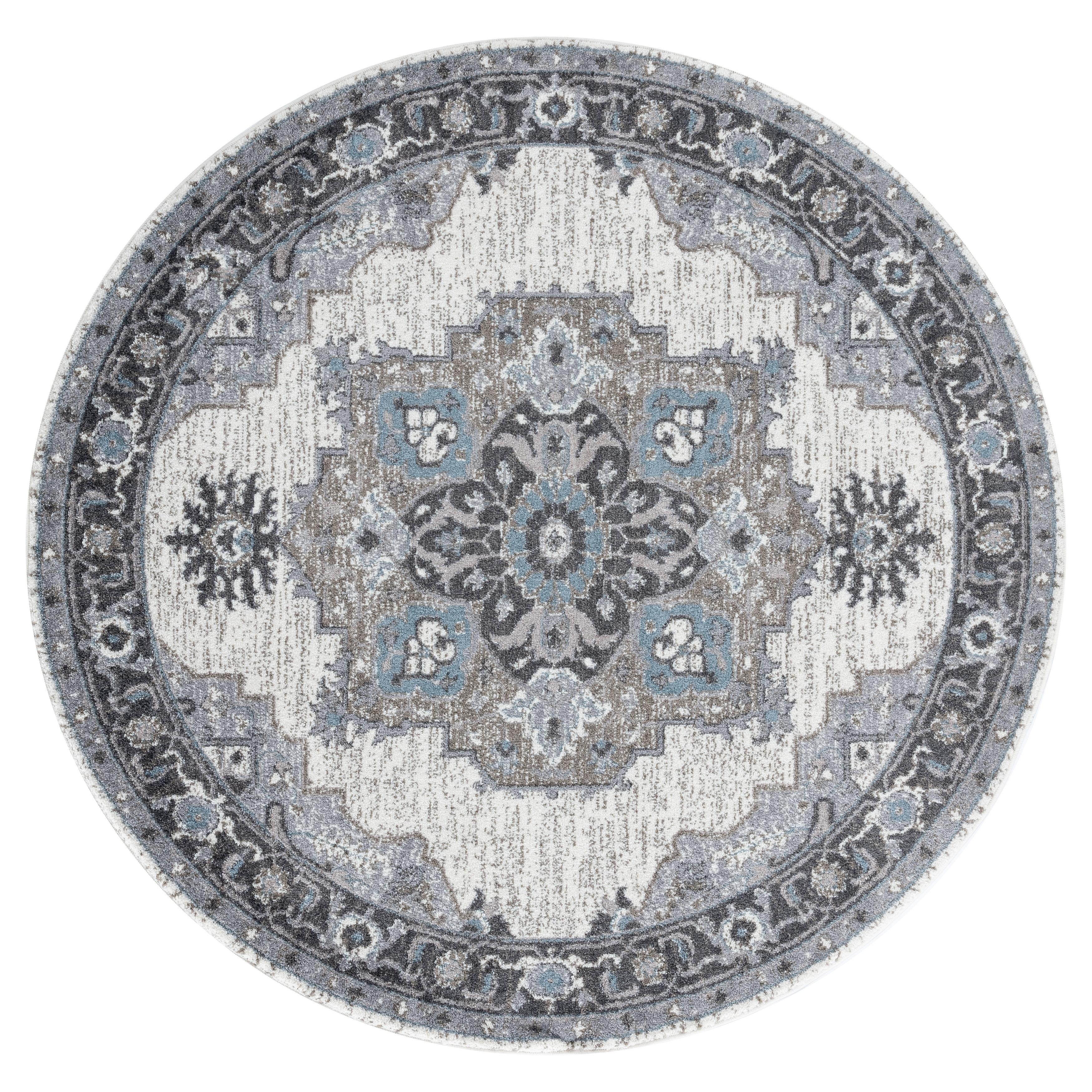 Aurelia Wilton-woven Transitional Light Gray Round Rug - 6 x 6 (Light Grey - 6 x 6)