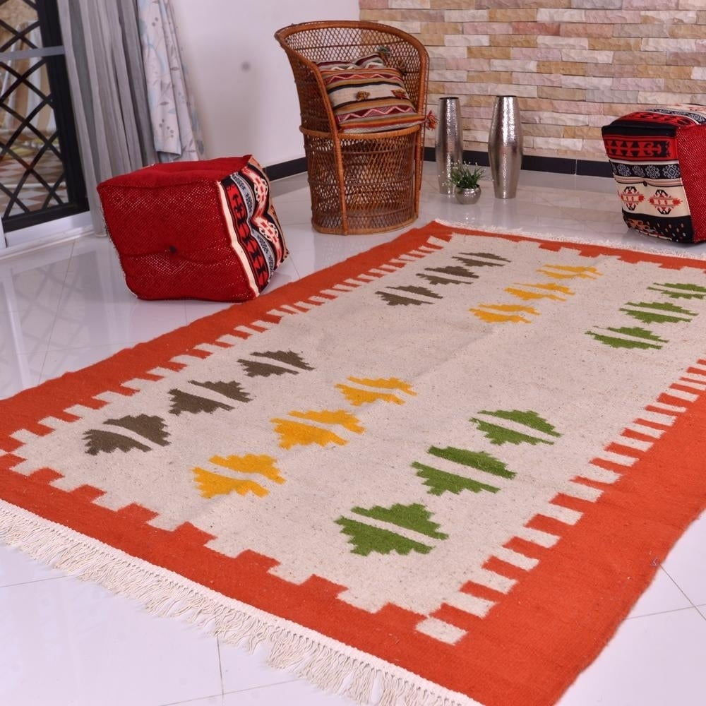 Moroccan Wool Kilim Rug - Orange Border - 5x 67