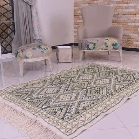"""Moroccan Rug Dark Green & Pistachio Wool Hand knotted Carpet - 5'x 6'7"""""""