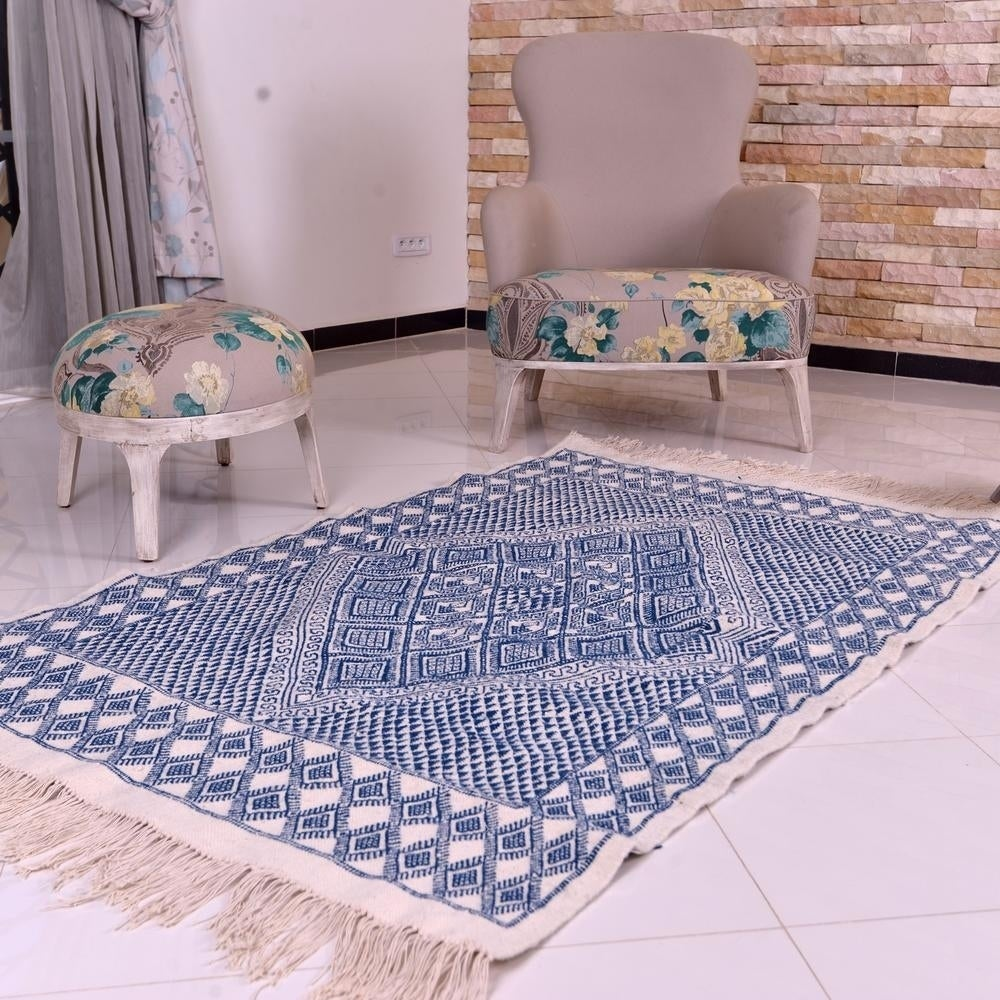 Moroccan Kilim Rug Blue Diamond Natural Wool Hand Knotted Rug - off-white, blue - 5x 67