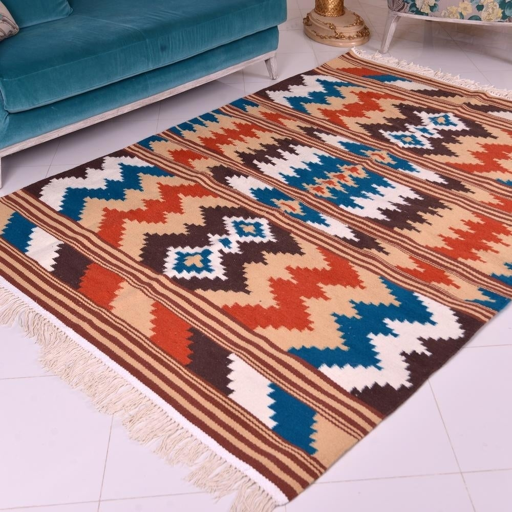 Moroccan Wool Kilim Rug - Multi-Color ZigZags - beige, brown, white, blue, red rust - 5x 67