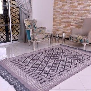 "Light Grey Kilim Rug Hand Knotted Wool Carpet - grey, black, off-white - 5'x 6'7"""