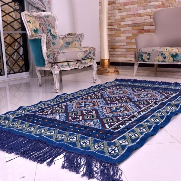 Moroccan Blue Kilim Rug Hand Knotted Natural Wool White Chili Red