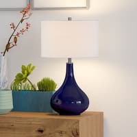 Mirabella Table Lamp with Linen Shade in Navy Blue