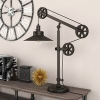 Descartes Wide Brim Industrial Farmhouse Table Lamp in Bronze with Pulley System
