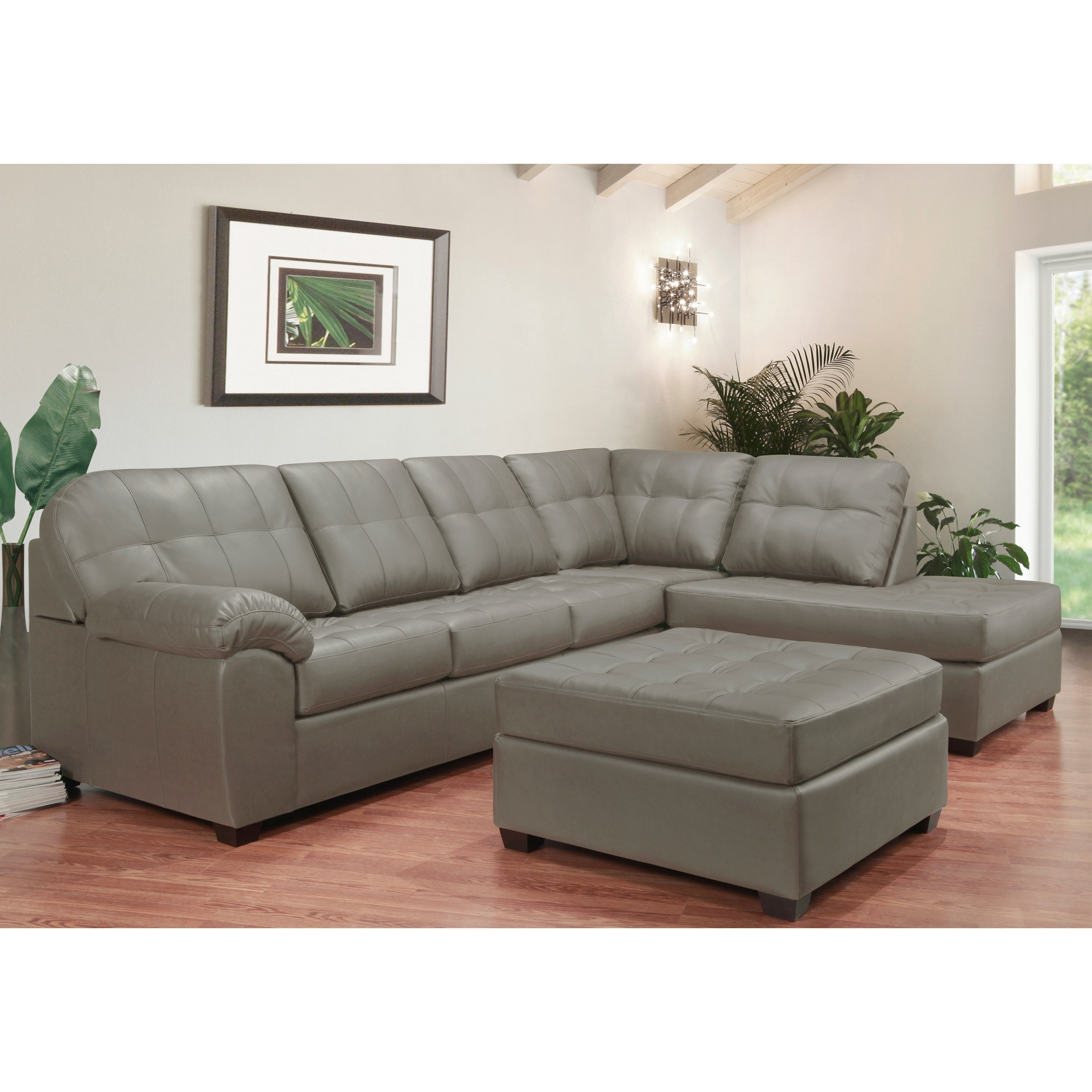 Surprising Emerson Top Grain Leather Tufted Sectional Sofa And Ottoman Interior Design Ideas Helimdqseriescom