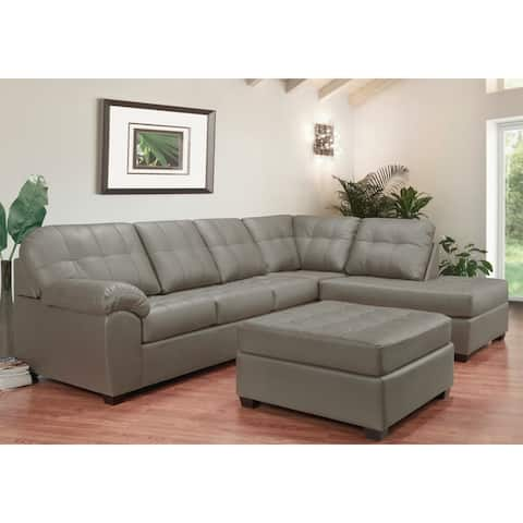 Emerson Top Grain Leather Tufted Sectional Sofa and Ottoman.