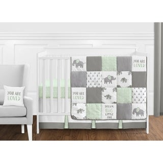 Sweet Jojo Designs Mint, Grey and White Watercolor Elephant Safari Collection Unisex 11-piece Crib Bedding Set