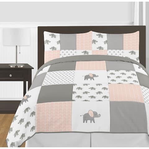 Sweet Jojo Designs Blush Pink, Grey White Watercolor Elephant Safari Collection Girl 3-piece Full Queen Comforter Set