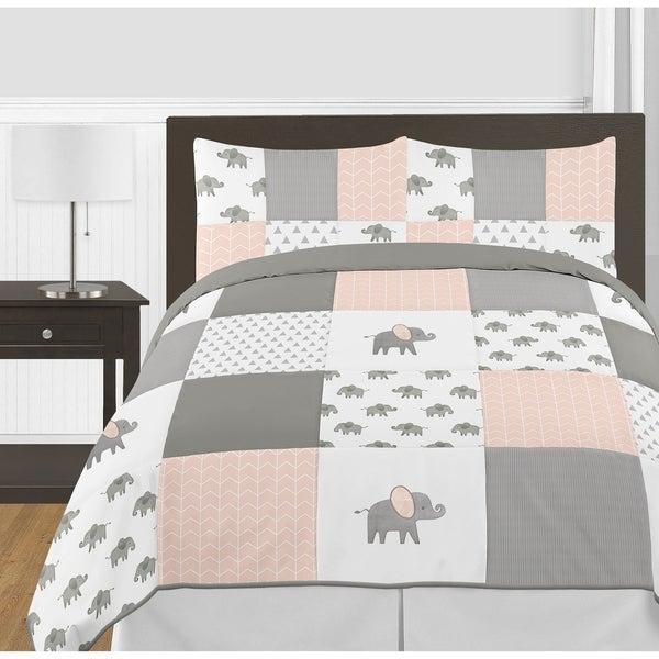 Sweet Jojo Designs Blush Pink, Grey White Watercolor Elephant Safari Collection Girl 3-piece Full Queen Comforter Set