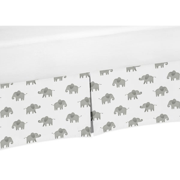 Sweet Jojo Designs Grey and White Watercolor Elephant Safari Unisex Collection Crib Bed Skirt
