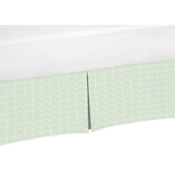 Sweet Jojo Designs Mint and White Chevron Arrow Watercolor Elephant Safari Unisex Collection Crib Bed Skirt