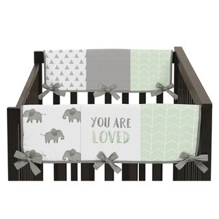 Sweet Jojo Designs Mint, Grey and White Watercolor Elephant Safari Collection Side Crib Rail Guard Covers (Set of 2)