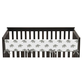 Sweet Jojo Designs Grey and White Watercolor Elephant Safari Collection Long Crib Rail Guard Cover