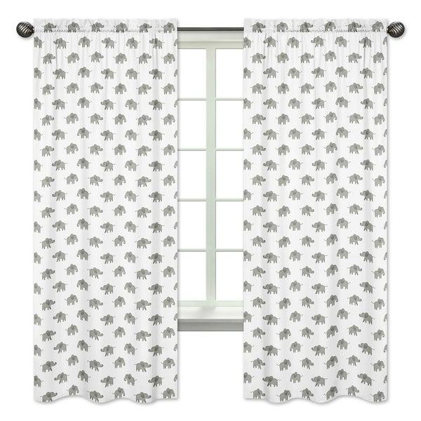 Sweet Jojo Designs Grey White 84-inch Window Treatment Curtain Panel Pair Mint Watercolor Elephant Safari Collection