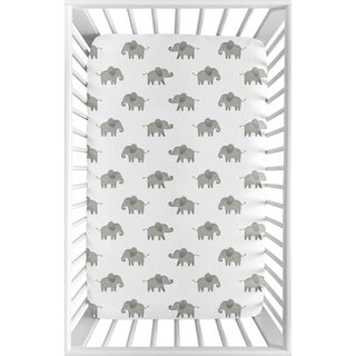 Sweet Jojo Designs Grey and White Watercolor Elephant Safari Collection Fitted Mini Portable Crib Sheet