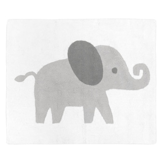 Sweet Jojo Designs Grey and White Accent Floor Rug for Mint Watercolor Elephant Safari Collection (2.5' x 3') - 2' x 3'
