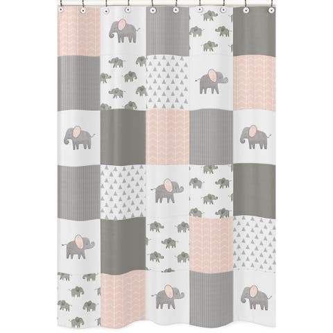 Sweet Jojo Designs Blush Pink, Grey and White Watercolor Elephant Safari Collection Bathroom Fabric Bath Shower Curtain
