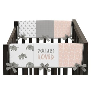 Sweet Jojo Designs Blush Pink, Grey White Watercolor Elephant Safari Collection Side Crib Rail Guard Covers (Set of 2)