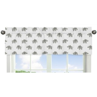 Sweet Jojo Designs Grey and White Window Curtain Valance for Mint Watercolor Elephant Safari Collection