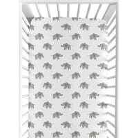 Sweet Jojo Designs Grey and White Fitted Crib Sheet for Mint Watercolor Elephant Safari Collection