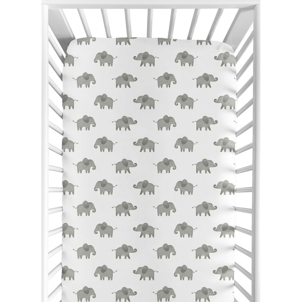 Sweet Jojo Designs Grey and White Fitted Crib Sheet for Mint Watercolor Elephant Safari Collection. Opens flyout.