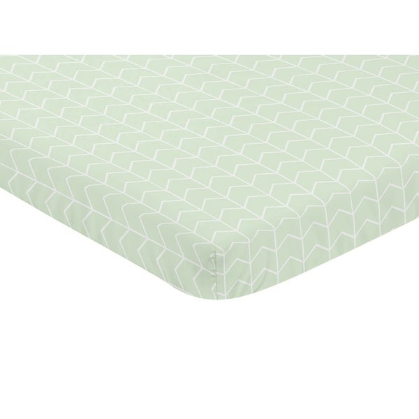 Sweet Jojo Designs Mint and White Chevron Arrow Watercolor Elephant Safari Collection Fitted Mini Portable Crib Sheet