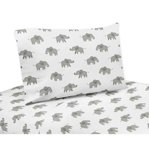 Sweet Jojo Designs Grey and White 3-piece Twin Bed Sheet Set Mint Watercolor Elephant Safari Collection