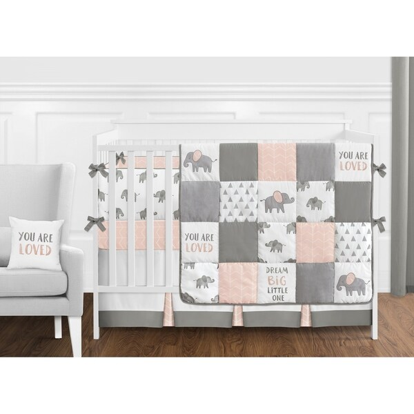 Sweet Jojo Designs Blush Pink, Grey and White Watercolor Elephant Safari Collection Girl 9-piece Crib Bedding Set
