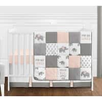 Sweet Jojo Designs Blush Pink, Grey and White Watercolor Elephant Safari Collection Girl 4-piece Crib Bedding Set