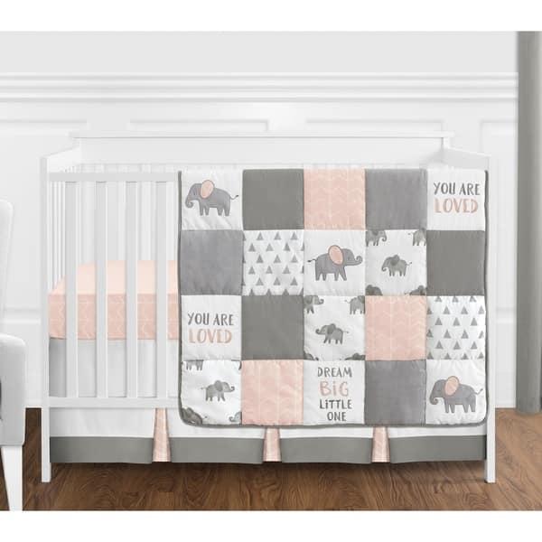 Sweet Jojo Designs Blush Pink Grey And White Watercolor Elephant Safari Collection 4 Piece Crib Bedding Set