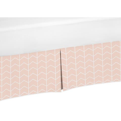 Sweet Jojo Designs Blush Pink and White Chevron Arrow Watercolor Elephant Safari Collection Toddler Bed Skirt