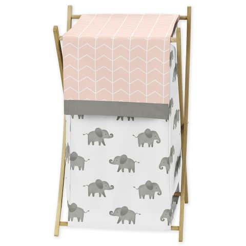 Sweet Jojo Designs Blush Pink, Grey and White Watercolor Elephant Safari Collection Laundry Hamper