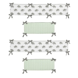 Sweet Jojo Designs Mint, Grey and White Watercolor Elephant Safari Collection Baby Crib Bumper Pad