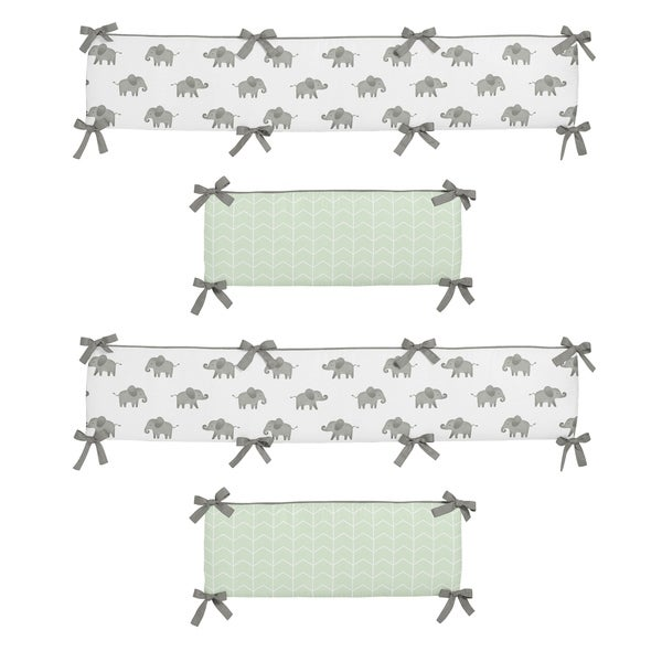 Sweet Jojo Designs Mint, Grey and White Watercolor Elephant Safari Collection Baby Crib Bumper Pad