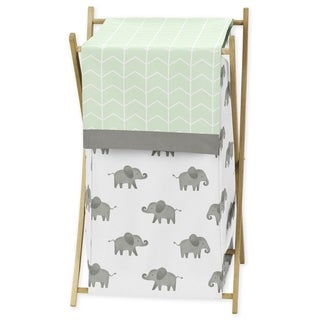 Sweet Jojo Designs Mint, Grey and White Watercolor Elephant Safari Collection Laundry Hamper