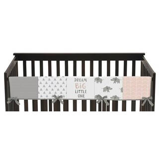 Sweet Jojo Designs Blush Pink, Grey and White Watercolor Elephant Safari Collection Long Crib Rail Guard Cover